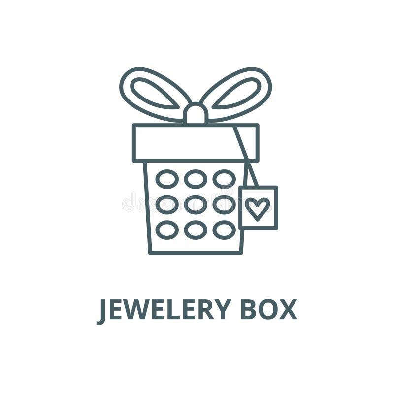 Jewelery box vector line icon, linear concept, outline sign, symbol. Jewelery box vector line icon, outline concept, linear sign stock illustration
