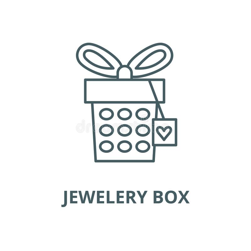Jewelery box vector line icon, linear concept, outline sign, symbol. Jewelery box vector line icon, outline concept, linear sign royalty free illustration
