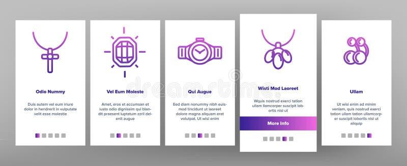 Jewelery Line Icon Set Vector Onboarding. Mobile App Page Screen. Diamond Luxury Jewelery Symbol. Gem Elegance Sign. Thin Outline Illustration vector illustration