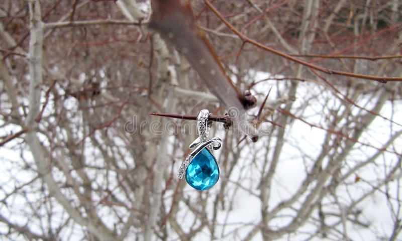 Jewelery on the neck in the form of drops on a branch royalty free stock photography