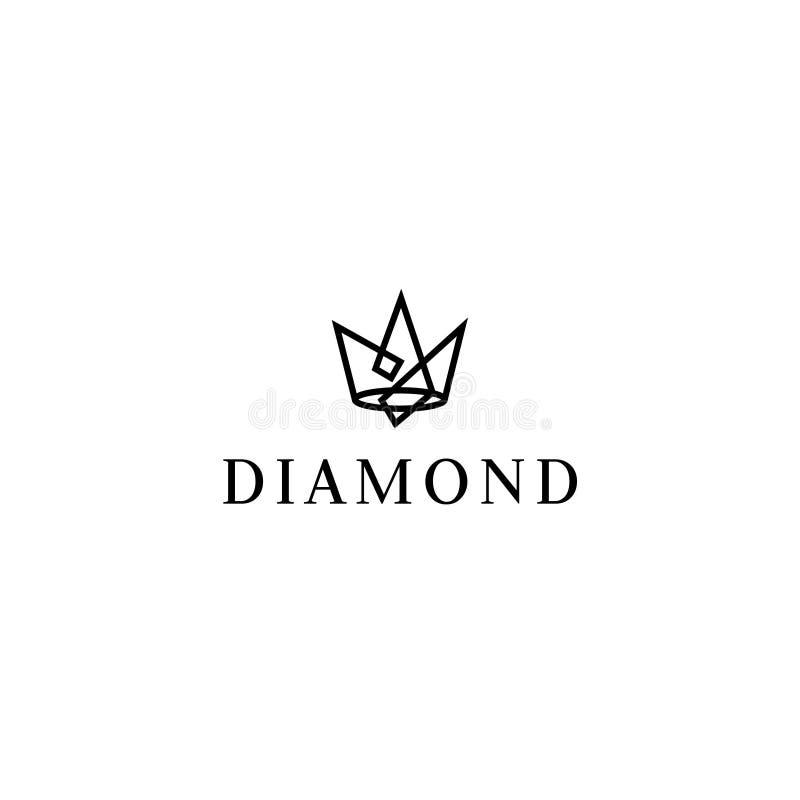 Jewelery vector logo. Diamond illustration. Crown emblem stock illustration