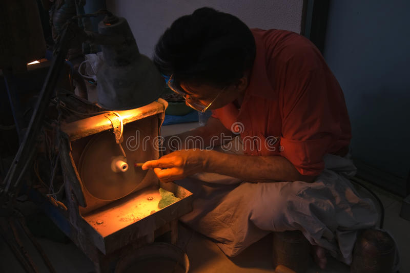Download Jeweller At Work On Ruby Stone In Jaipur Editorial Photo - Image: 17603916
