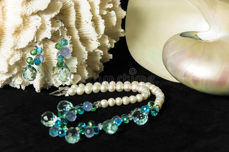 Jewellery. Being photographed with sea shells royalty free stock photo