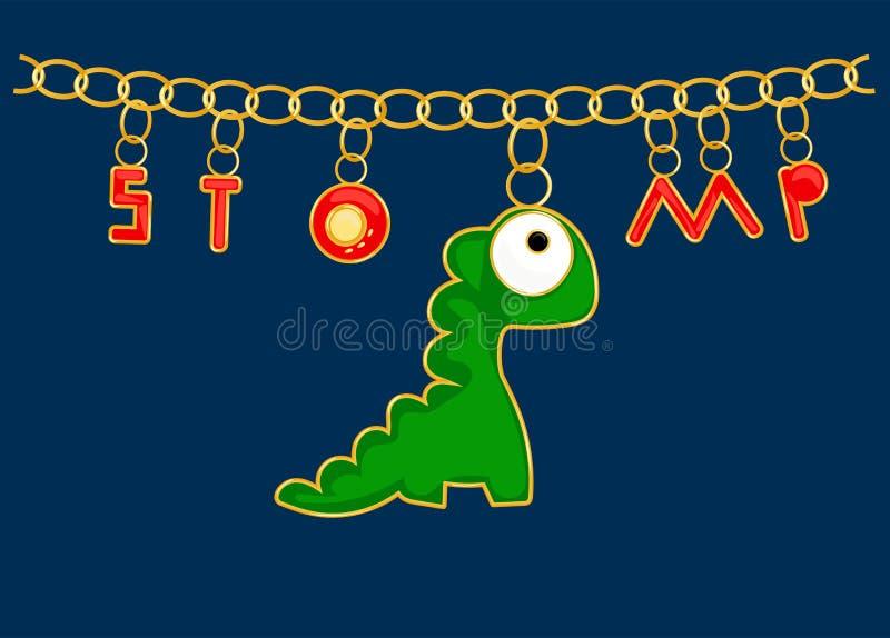 Jewellery Dino zieleni breloczki z literowaniem chodzą tupiąc Łańcuch z złotymi pierścionkami, czerwień listy Tworzyć druki na od ilustracji