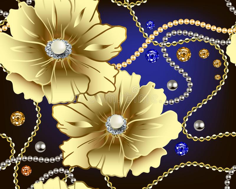 Jewellery floral 3d vector seamless pattern. Gold flowers with white surface pearls. Jewelry ornamental background. Vintage stock illustration