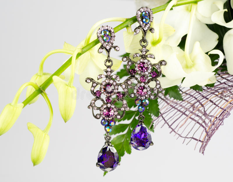 Download Jewellery on flowers stock image. Image of fashion, carat - 34097655