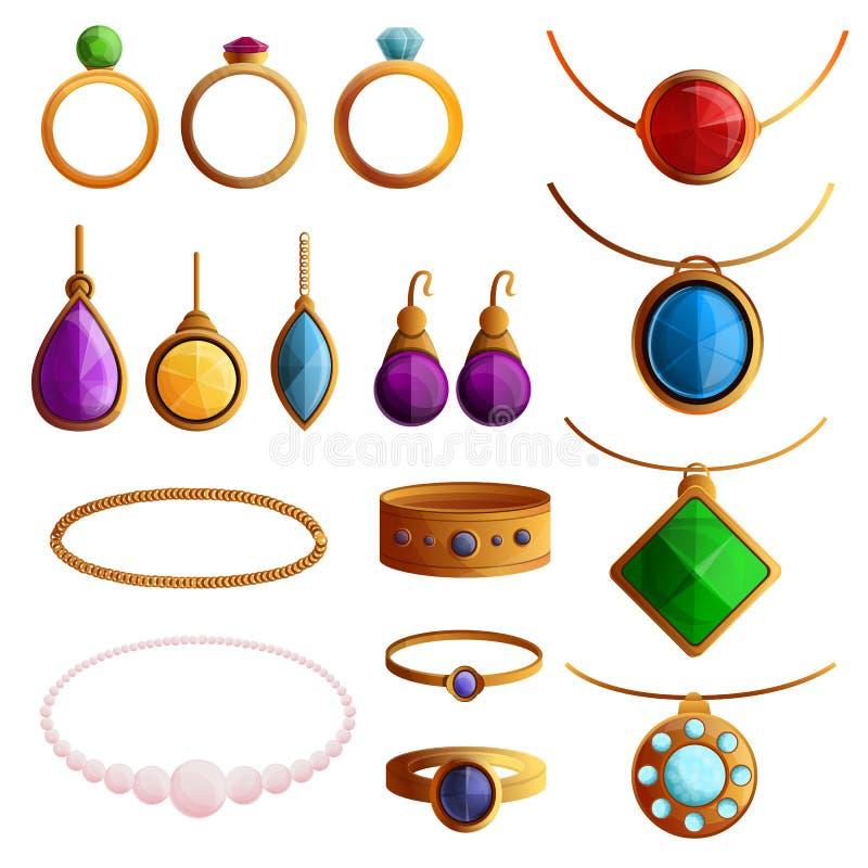 Jewellery ikony set, kreskówka styl ilustracji
