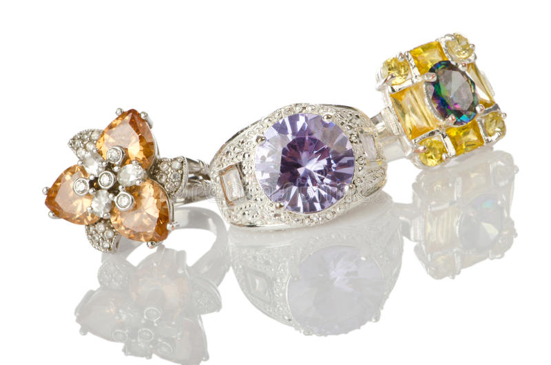 Jewellery ring on white royalty free stock photography