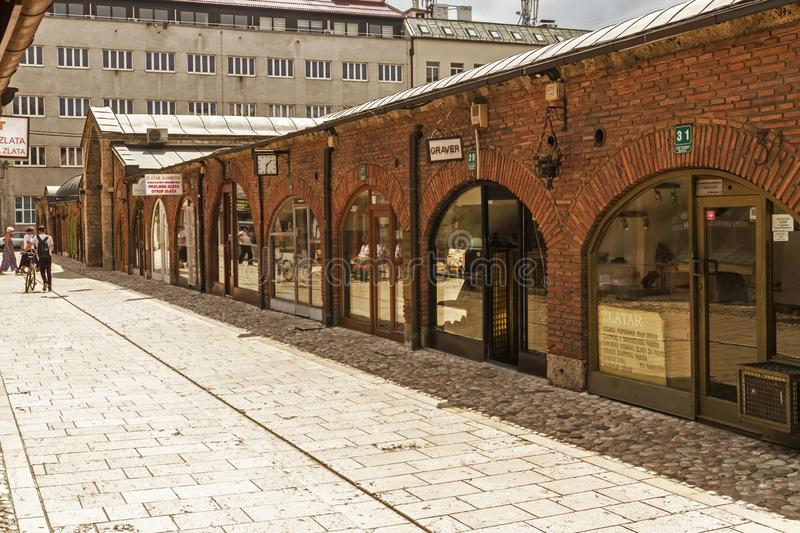 Jewellery stores at Gazi Husrev-beg Bezistan covered market at old bazaar and the historical and cultural center of the Sarajevo c. SARAJEVO / BOSNIA AND stock photography