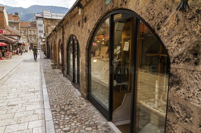 Jewellery stores at Gazi Husrev-beg Bezistan covered market at old bazaar and the historical and cultural center of the Sarajevo c. SARAJEVO / BOSNIA AND royalty free stock image
