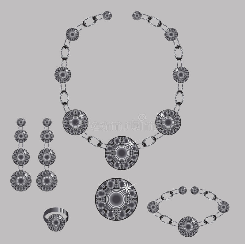 Jewellry set. Set from necklace brooch ring earrings and bracelet with stones vector illustration