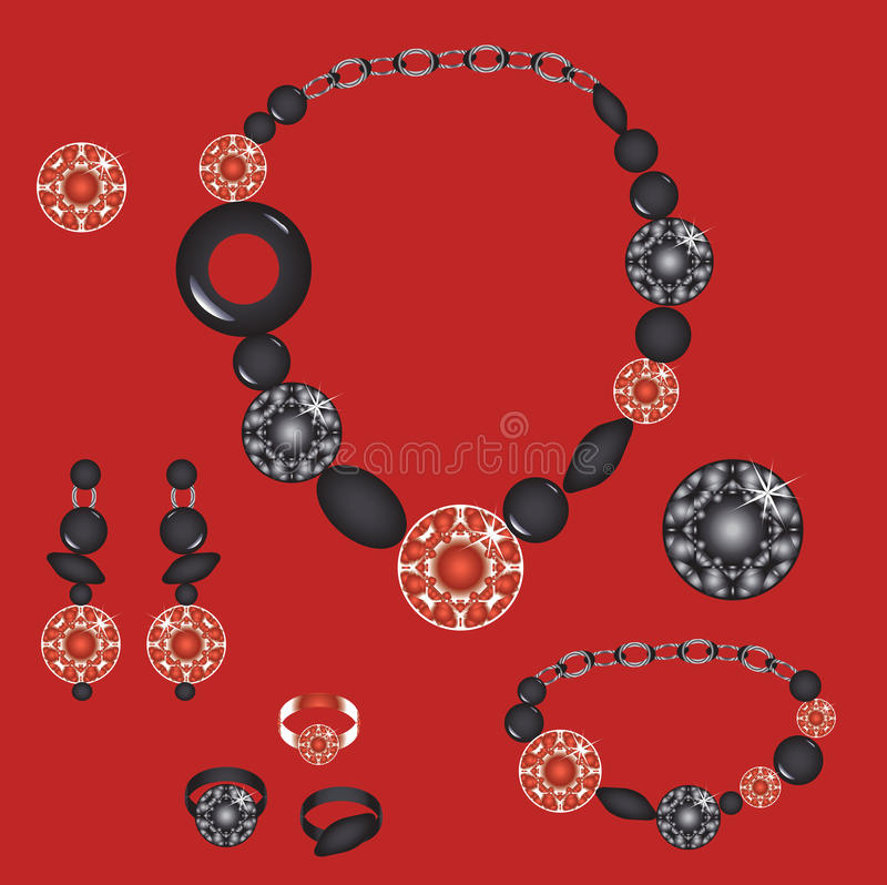 Jewellry set. Set from necklace brooch ring earrings and bracelet with stones royalty free illustration