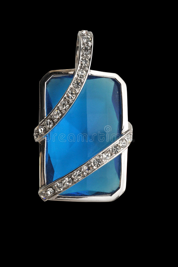Jewelry. Blue crystal jewelry on the black ground royalty free stock image