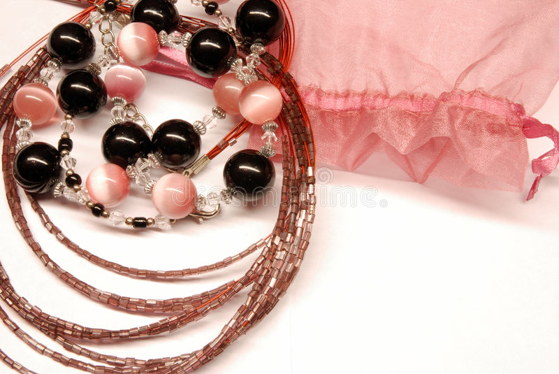 Jewelry. Pink beautiful jewelry from stone royalty free stock photography