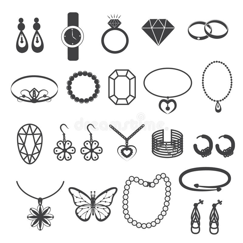 Jewelry Accessories and Gemstone Icons Set. 20 Different designs of jewelry accessories and gemstone stock illustration