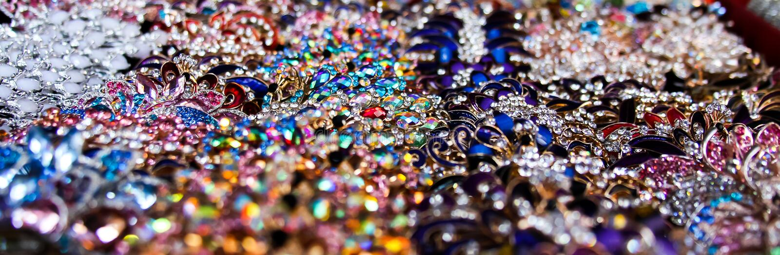 Jewelry for all tastes, gold, silver, precious stones and platinum. royalty free stock photo