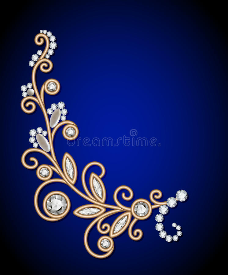 Jewelry background with diamond sprig. Gold jewelry background with diamond sprig, jewellery floral decoration, elegant greeting card or invitation template royalty free illustration