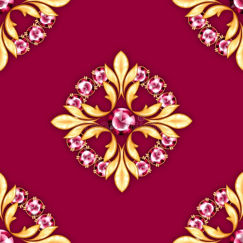 Jewelry background with ruby gems. Jewelry background. Seamless pattern with ruby gems stock illustration