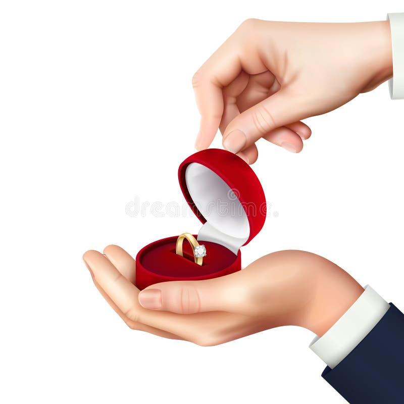 Jewelry Box Hand Realistic royalty free illustration