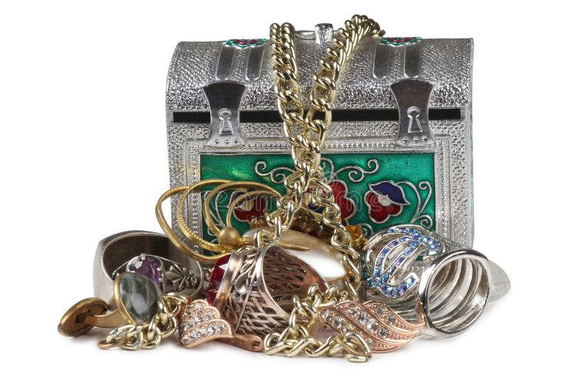 Jewelry in box two royalty free stock photos