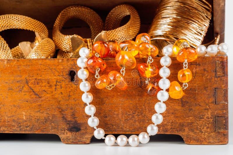 Jewelry box on white background stock image