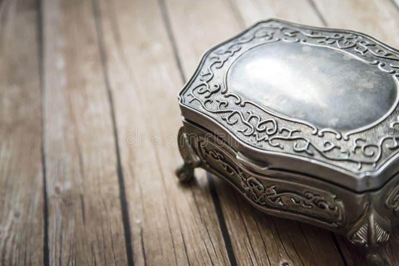 Jewelry Box. On wooden board stock photo