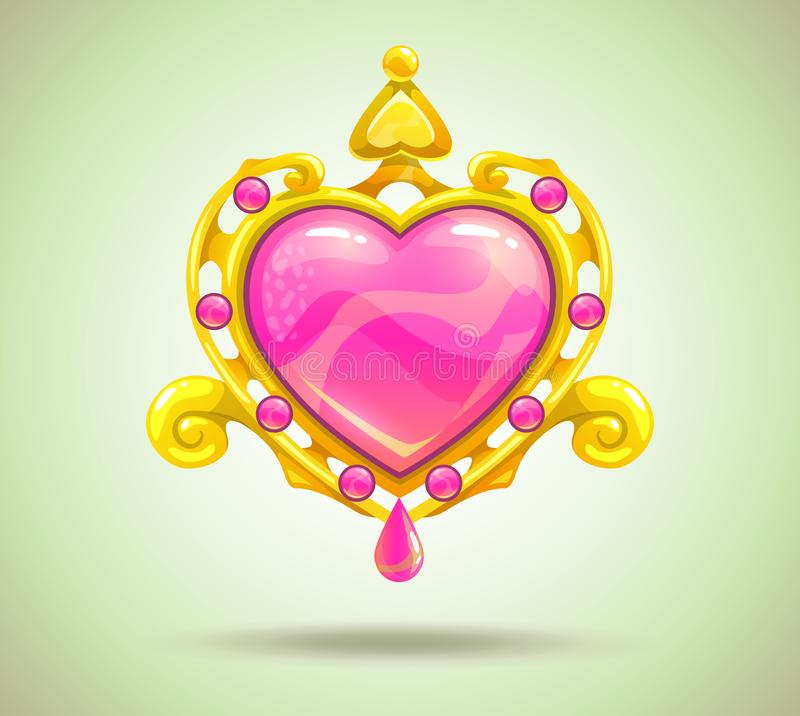 Jewelry cartoon asset. Beautiful precious decorative gold-rimmed crystal heart icon. Magic love item for game or web design. Vector illustration. Jewelry asset royalty free illustration