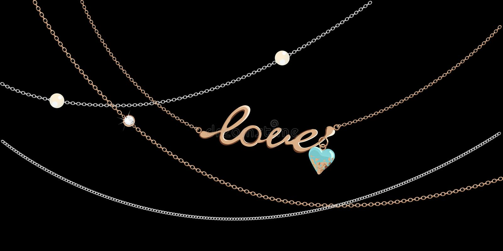 Jewelry chains - love stock images