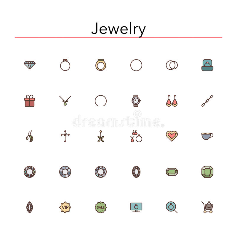 Jewelry Colored Line Icons royalty free illustration