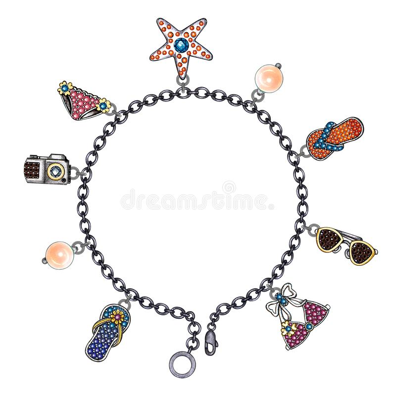 Jewelry Design Fashion on the beach Bracelet. vector illustration