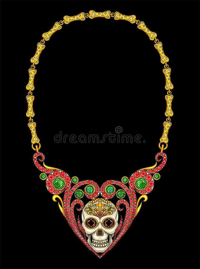 Jewelry design skull heart necklace day of the dead. royalty free stock image