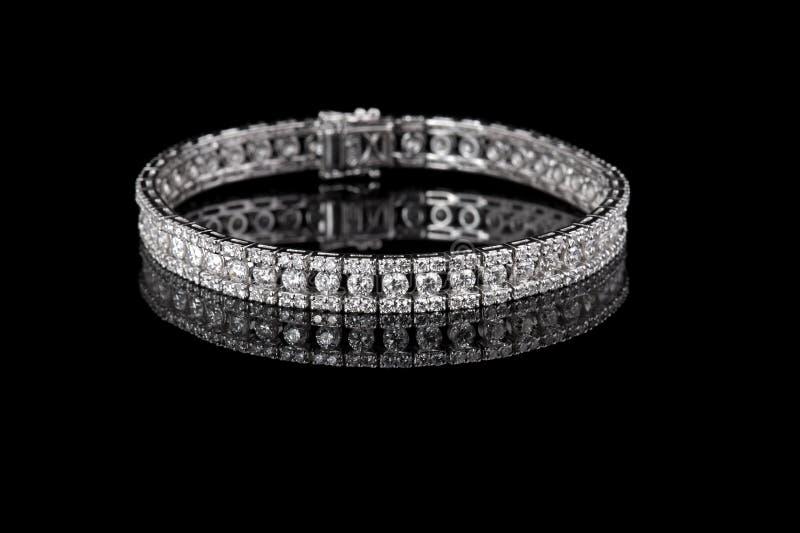 Jewelry diamond bracelet on a black background.  stock image