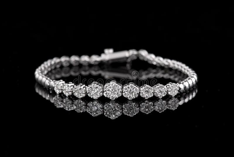 Jewelry diamond bracelet on a black background.  royalty free stock photo
