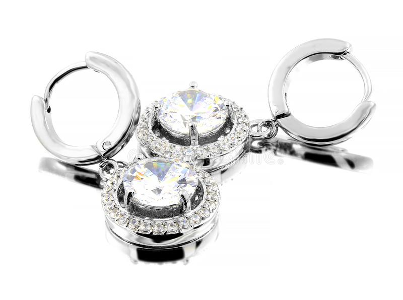 Jewelry Earrings for Women - Stainless Steel and Cubic Zircons royalty free stock image