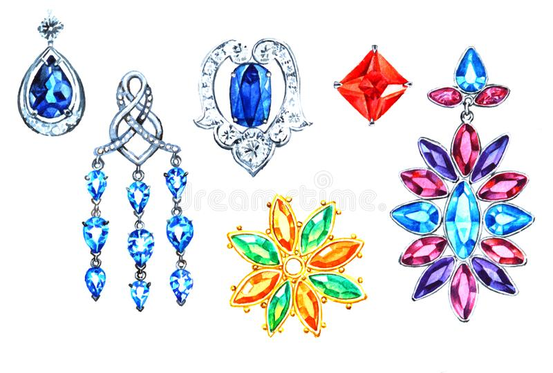 Jewelry element set on white background,watercolor. Jewelry element set, isolated on white background, watercolor hand paint illustration vector illustration