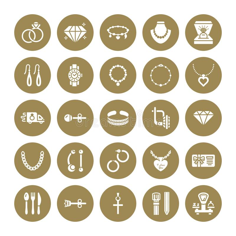 Free Jewelry Flat Glyph Icons, Jewellery Store Signs. Jewels Accessories - Gold Engagement Rings, Gem Earrings, Silver Chain Stock Photos - 125406573