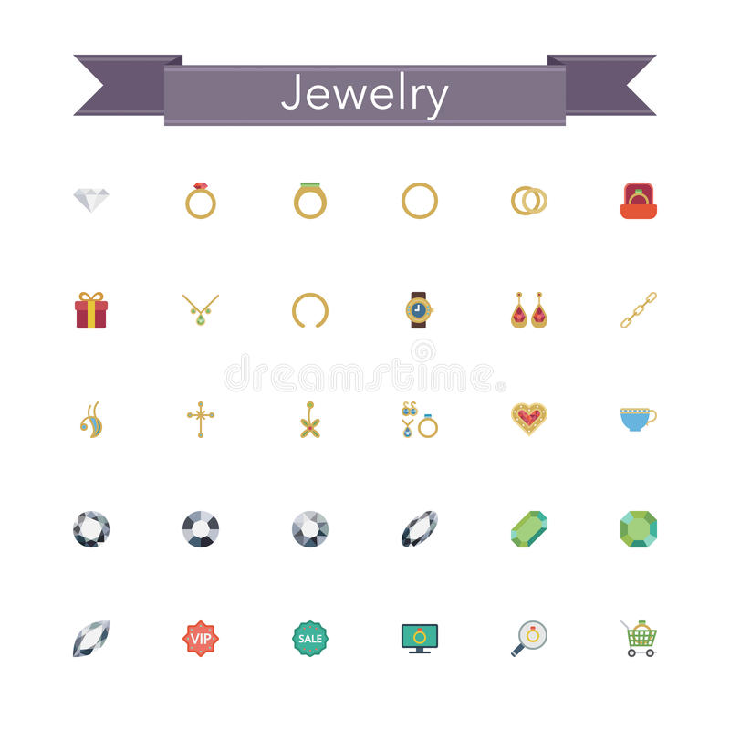 Download Jewelry Flat Icons stock vector. Illustration of color - 60752940