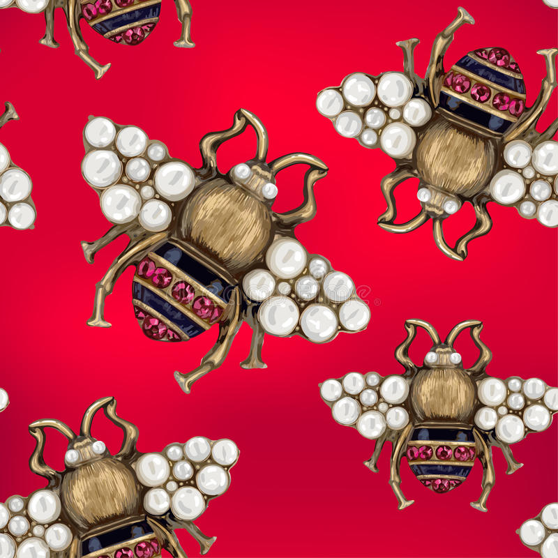 Jewelry of a fly on a red background. Seamless pattern royalty free illustration