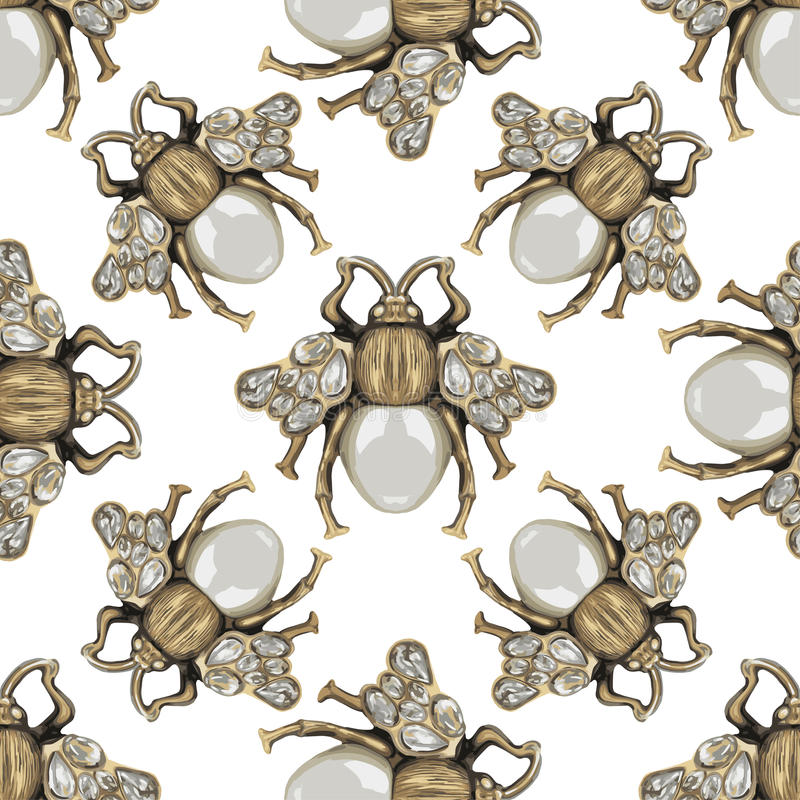 Jewelry fly on a white background. Jewelry of a fly on a white background. Seamless pattern vector illustration