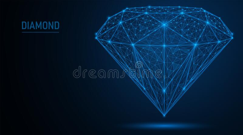 Jewelry gemstone diamond. Polygonal wire mesh consisting of lines and points. EPS 10 royalty free illustration