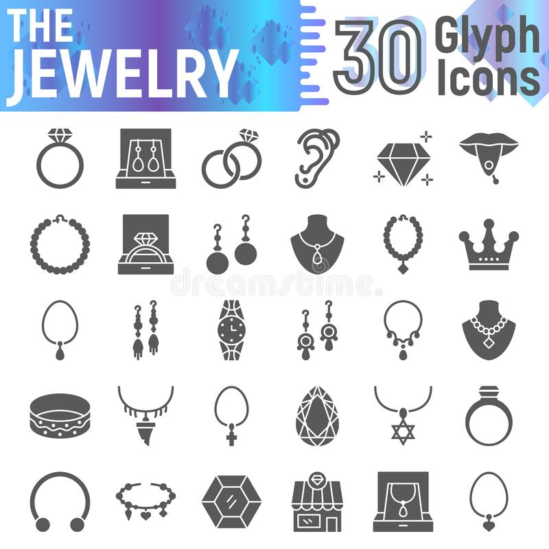 Jewelry glyph icon set, accessory symbols collection, vector sketches, logo illustrations, jewel signs solid pictograms royalty free illustration