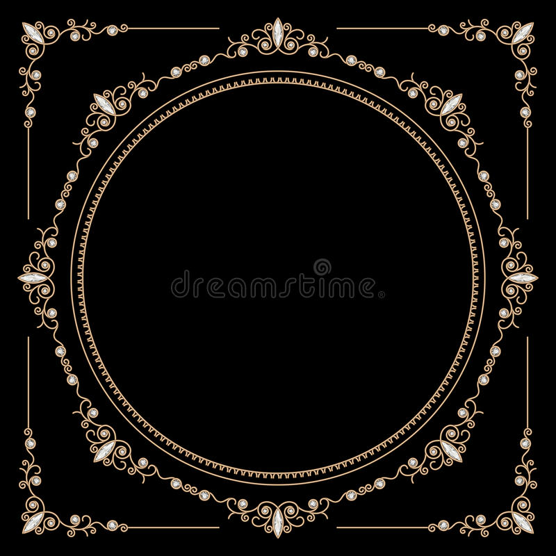Jewelry gold round frame. Vintage gold background, round jewelry frame and corners on black royalty free illustration