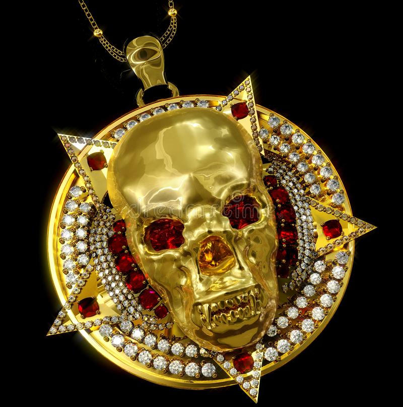 Jewelry gold skull pendant with star pentagram diamond. Jewelry gold skull archaeological ancient pendant with star pentagram diamond watches red ruby gems stock image