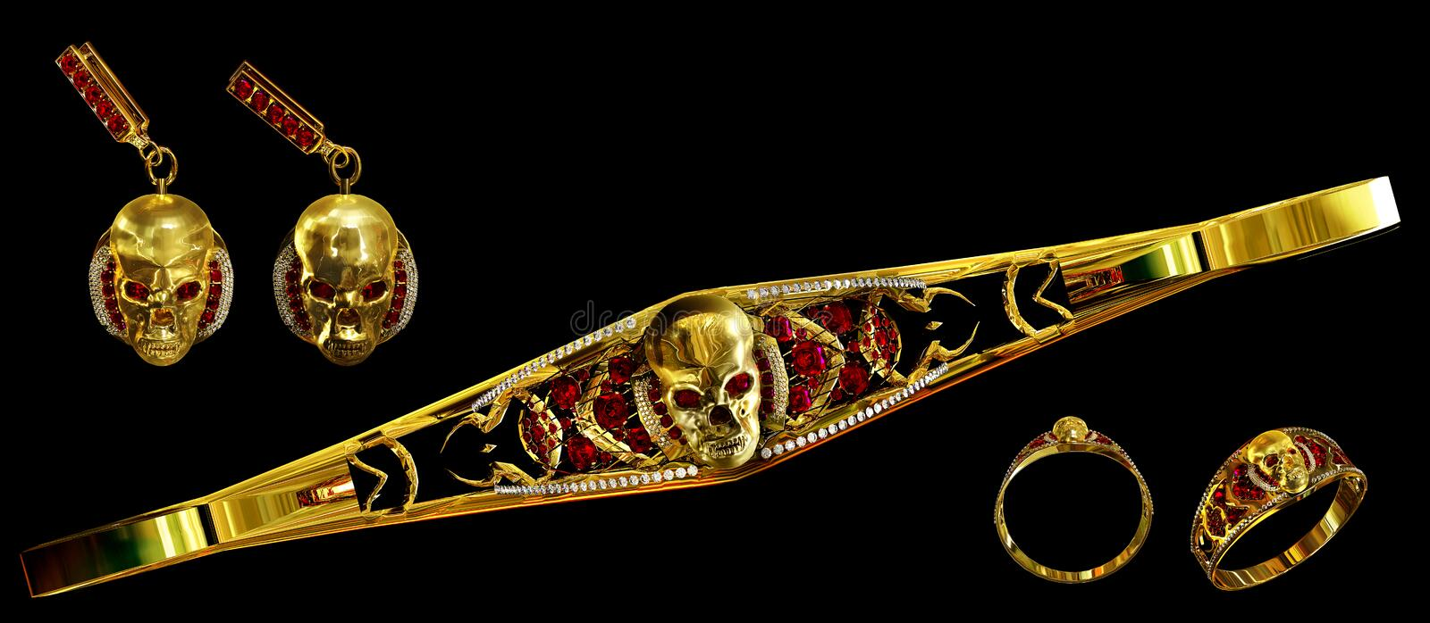 Jewelry gold skull set with diamond and red ruby gems. royalty free stock photo