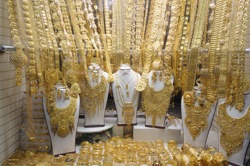 Jewelry at Gold Souq in Dubai stock images