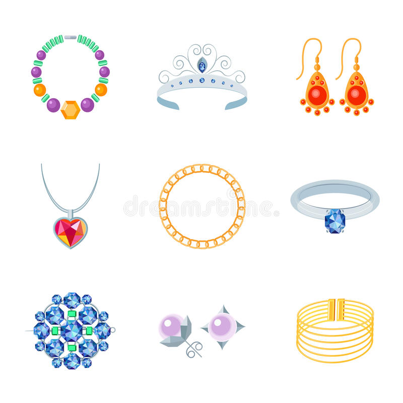 Jewelry Icons Flat. Jewelry flat icons set of necklace tiara earrings vector illustration stock illustration