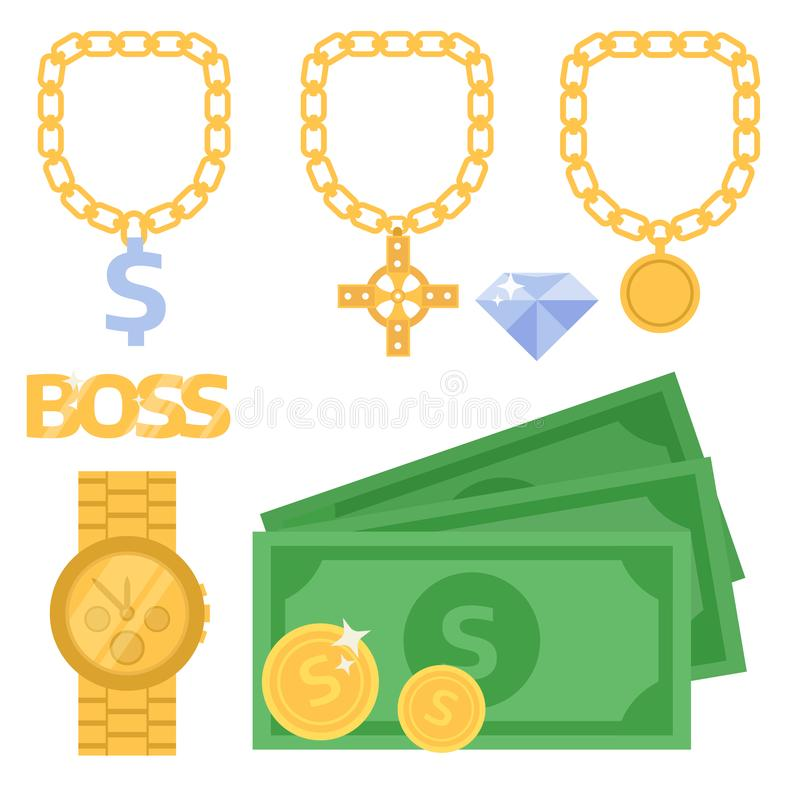 Jewelry icons gold vector gemstones precious accessories fashion money illustration beauty pendant symbol necklace. Expensive gift design accessory beads ring vector illustration