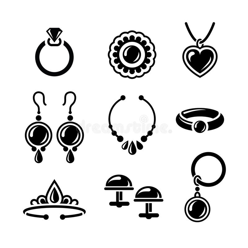 Jewelry icons. Set of jewelry icons in vector