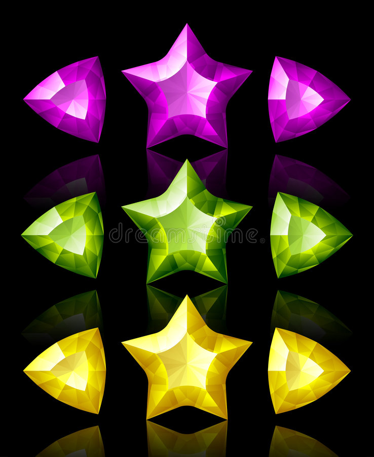 Jewelry icons of stars and arrows royalty free illustration