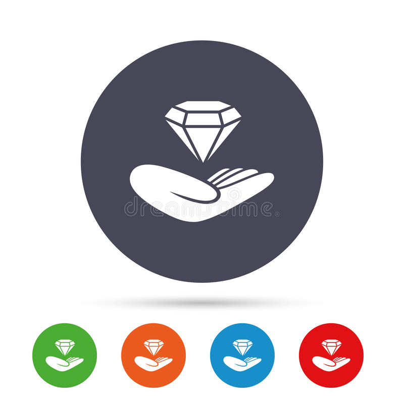 Jewelry insurance sign. Hand holds diamond. Jewelry insurance sign. Hand holds diamond symbol. Brilliant insurance. Round colourful buttons with flat icons royalty free illustration